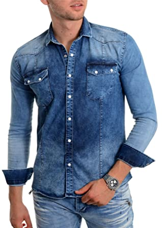 aa6fd864748 Mens Blue Denim Shirt Thick Fabric Stone wash Long Sleeve Slim fit Stud  Buttons at Amazon Men s Clothing store