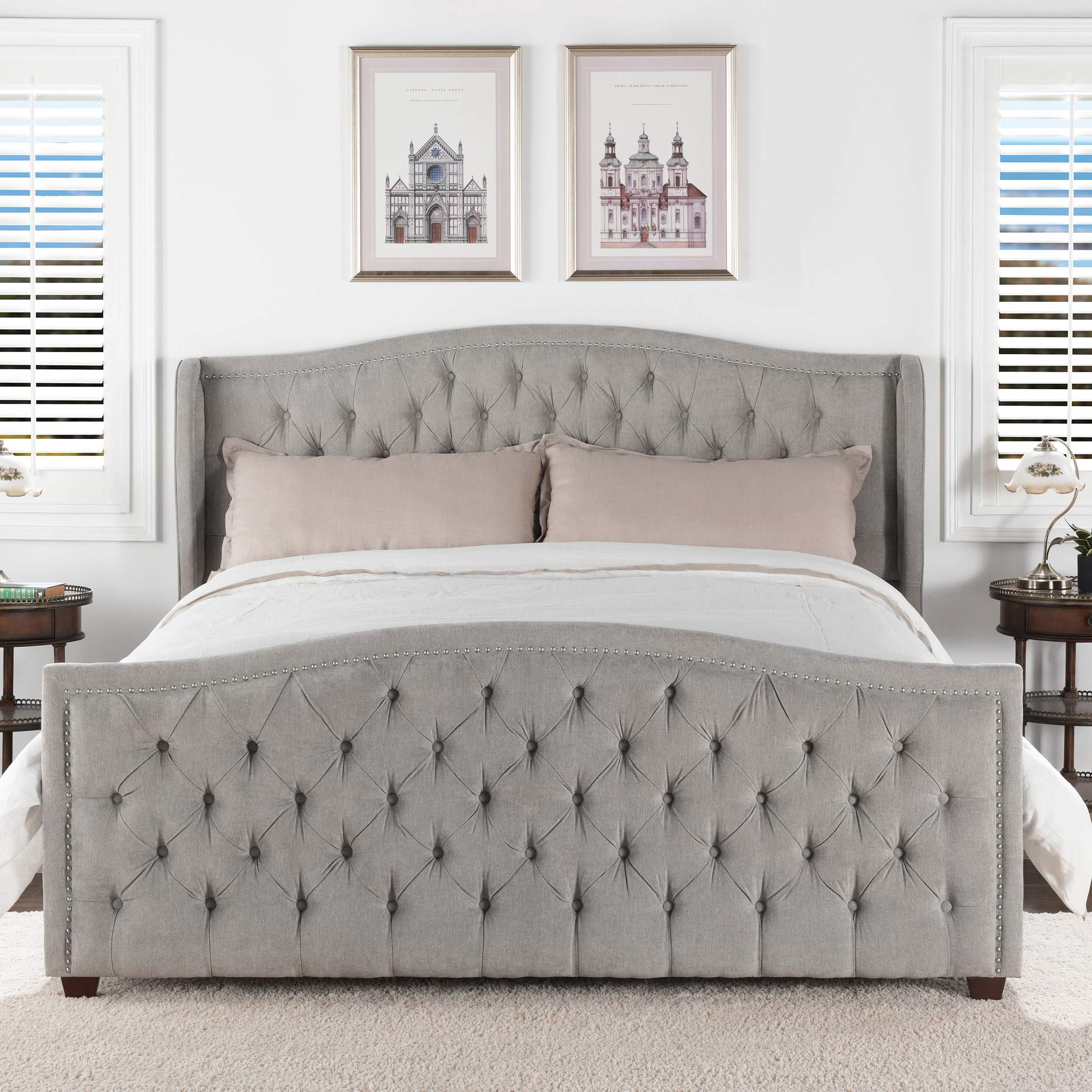 Jennifer Taylor Home Marcella Tufted Wingback King Bed, Silver Grey by Jennifer Taylor Home