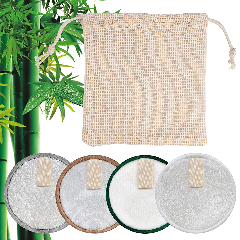 Ymai Abschminkpads Waschb/är-16Pack mit Baumwolle W/äschesack,Nat/ürlich Sanft Wiederverwendbare Gesichtsreinigungspads,3 Schichten 100/%Bambusfaser,Bio/&kein Plastik