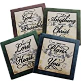 Inspirational Scriptures Coaster Set of 4 | Encouraging Verses to Protect Your Furniture | Christian and Spiritual Gifts and Decor