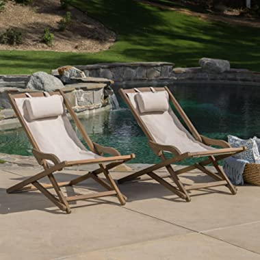 GDF Studio Northland Outdoor Wood and Canvas Sling Chair (Set of 2) (Beige)