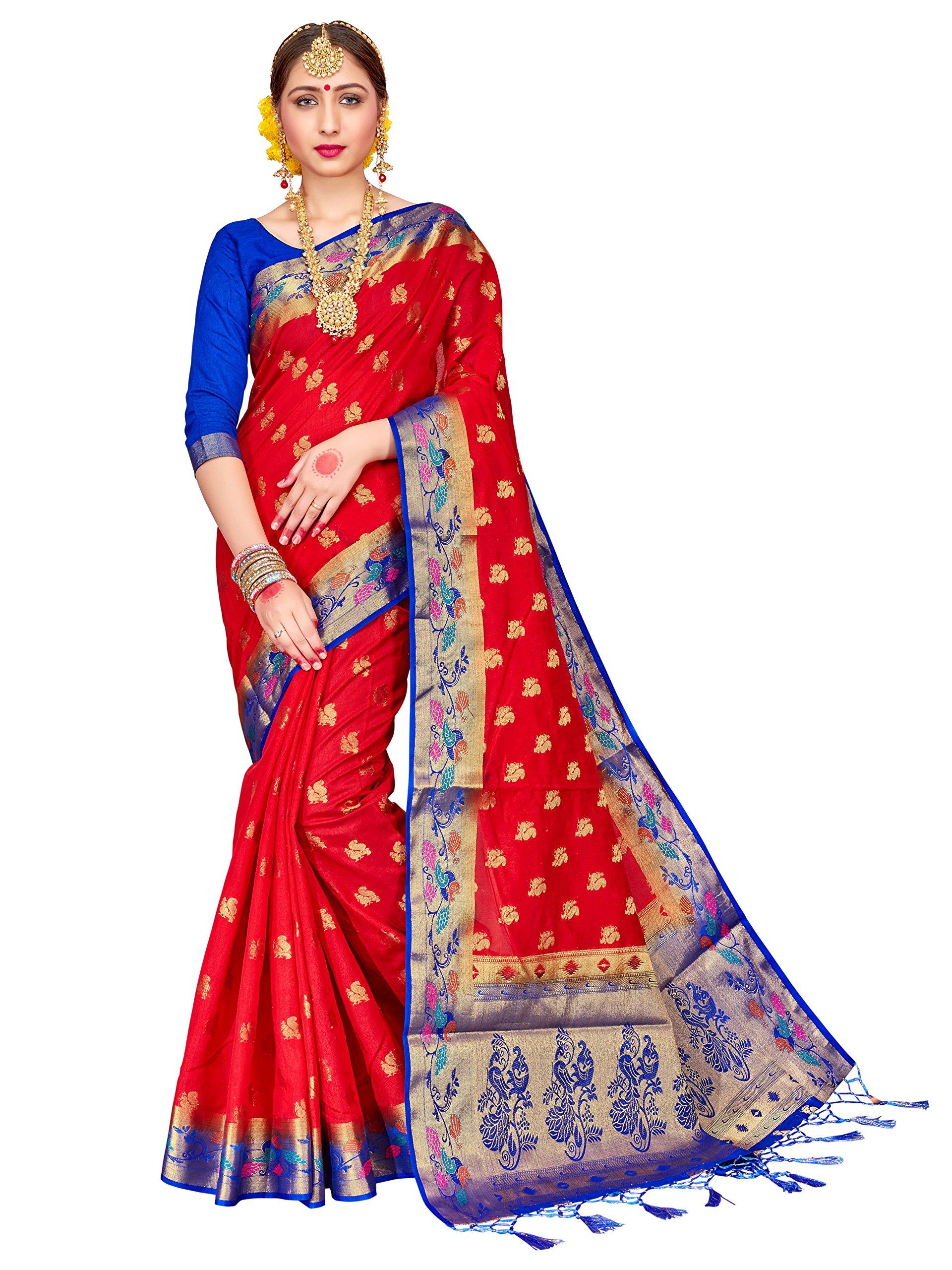 ELINA FASHION Sarees Women Banarasi Art Silk Woven Work Saree l Indian Wedding Traditional Wear Sari & Blouse Piece (Red)