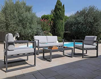 Proloisirs - Salon de Jardin en Aluminium Dina 4 Personnes Gris ...