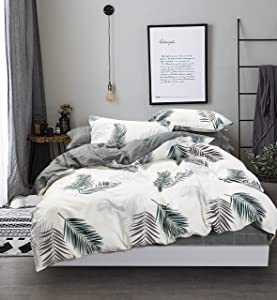 Swanson Beddings Reversible Evergreen 3-Piece 100% Cotton Bedding Set: Duvet Cover and Two Pillow Shams (Queen)