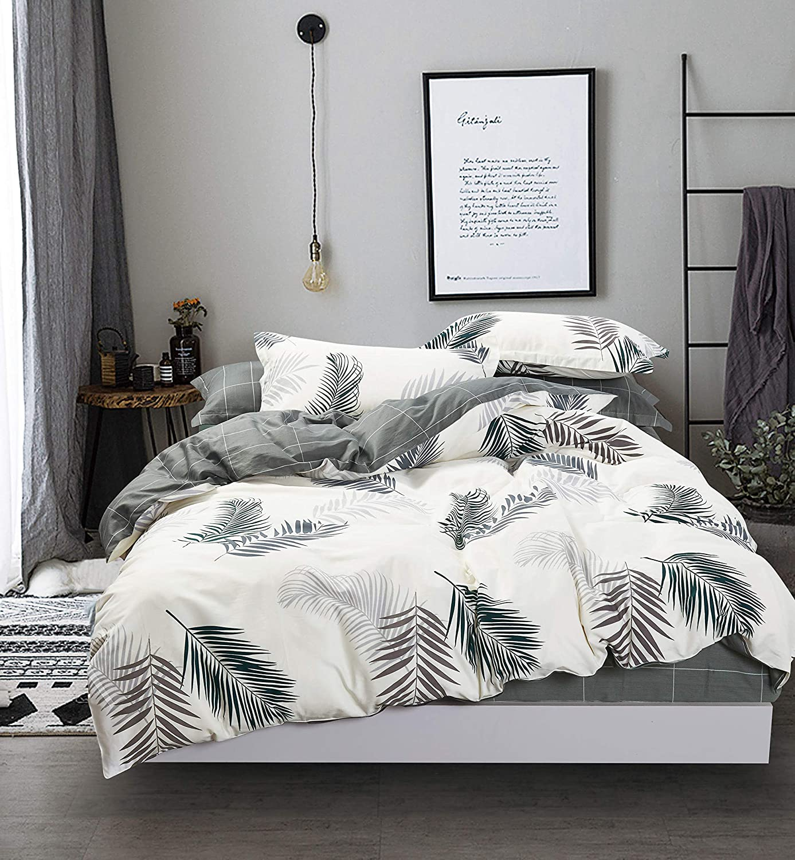 Swanson Beddings Leafy 綿100% 寝具セット:掛け布団カバー、枕カバー、枕カバー キング B07NCGTVJD Cream-green キング