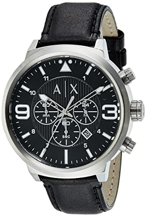 Image Unavailable. Image not available for. Color  Armani Exchange Men s  AX1371 Black Leather Watch 75b7bf0485