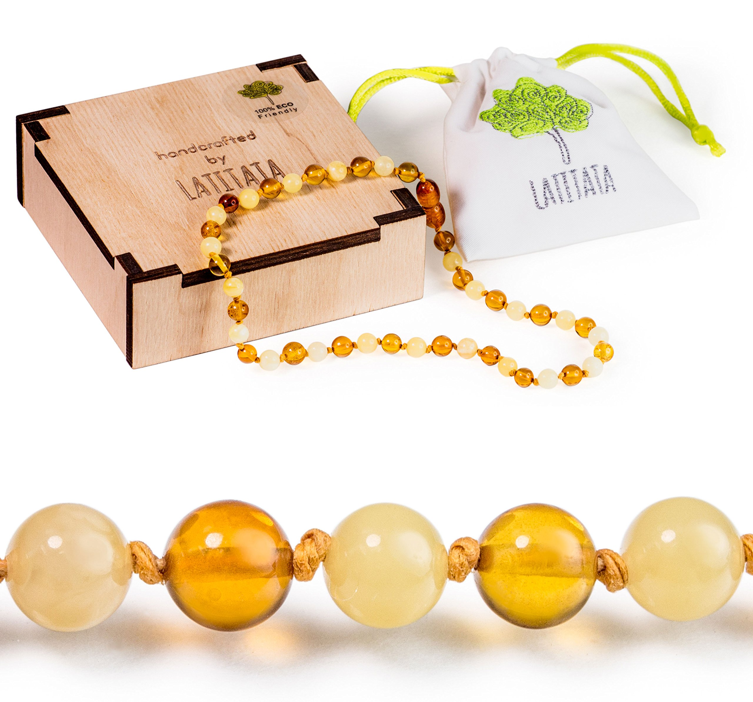 Amber Teething Necklace for Baby - Organic Baltic Amber Teething Necklace Made of Premium Raw Rounded Amber Beads - Teething Pain Relief - Best Natural Teething Necklace for Girls and Boys (Multi)