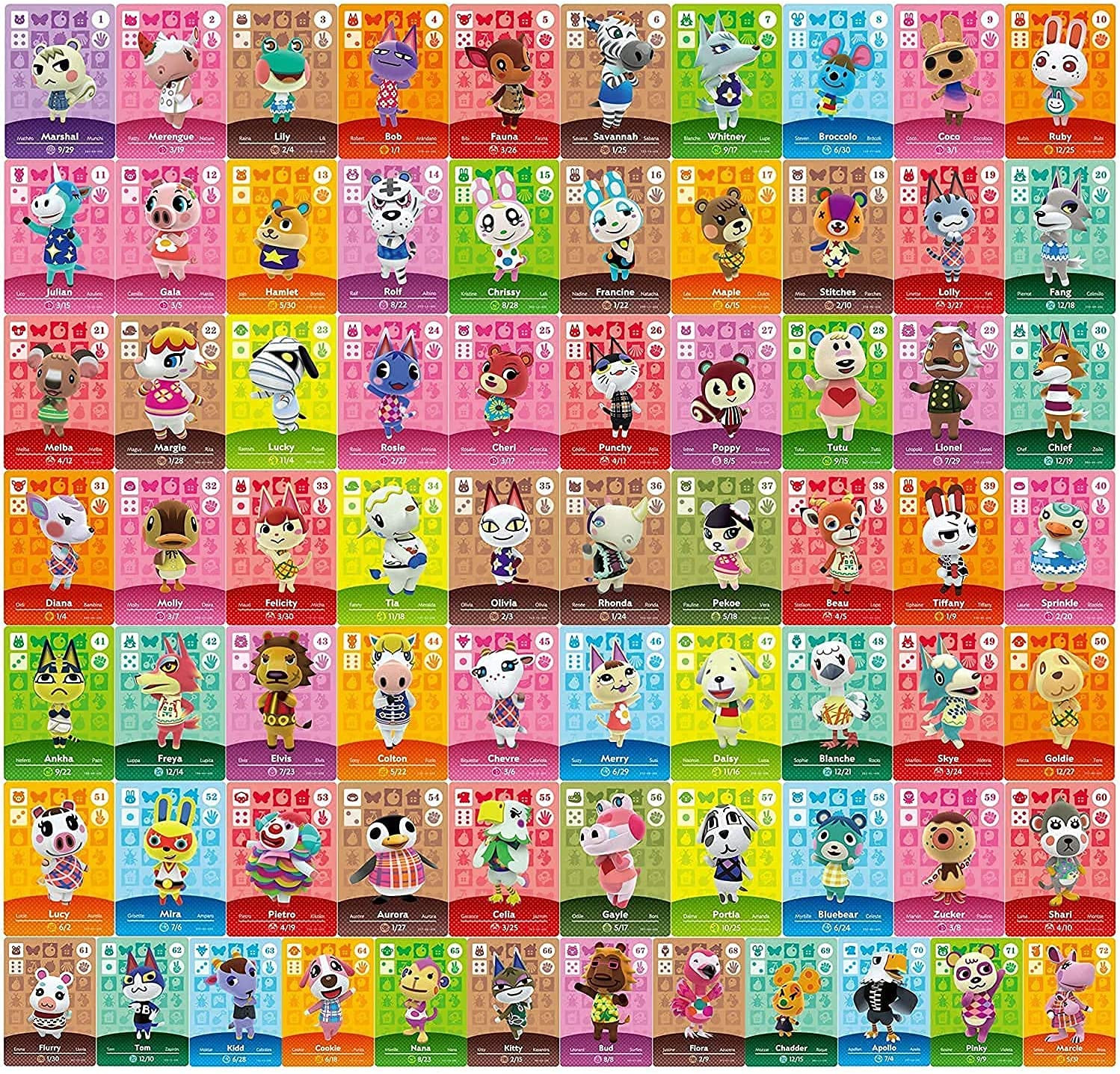 72 PCS NFC Tag Tiny Mini Game Cards ACNH Series 1-4 for Animal Crossing New Horizons Amiibo Switch/Switch Lite/Wii U/New 3DS System