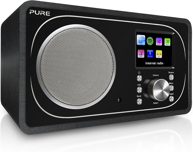 Pure Radio Evoke F3 (Dab/Dab+, FM, WiFi, Bluetooth, Internet Radio, Spotify Connect, App, Sleep Timer, Alarma, Control Remoto) Negro