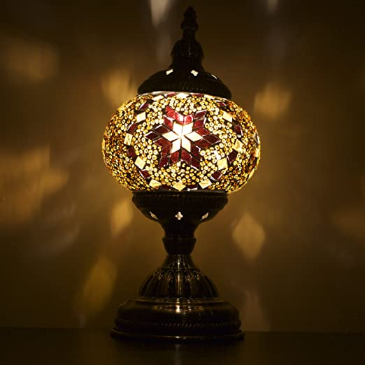 Mosaic Lamps UK   Beautiful Handmade Turkish Moroccan Mosaic Table Lamp    Brown U0026 Gold