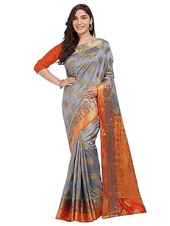 e78db2f2639b3 Viva N Diva Sarees for Women s Grey   Orange Banarasi Silk Saree with  Un-Stiched