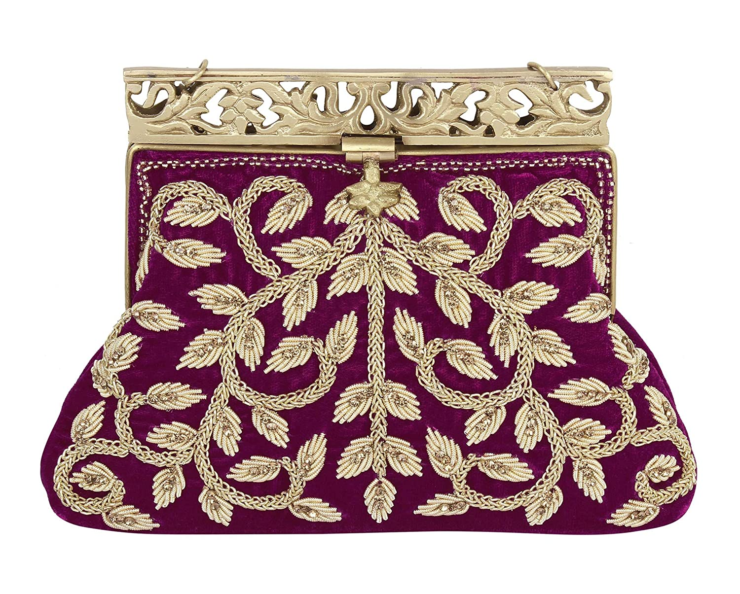 Vintage & Retro Handbags, Purses, Wallets, Bags Purse Collection Rani Handmade Clutch With Embroidery Work Purses For Womens $57.00 AT vintagedancer.com