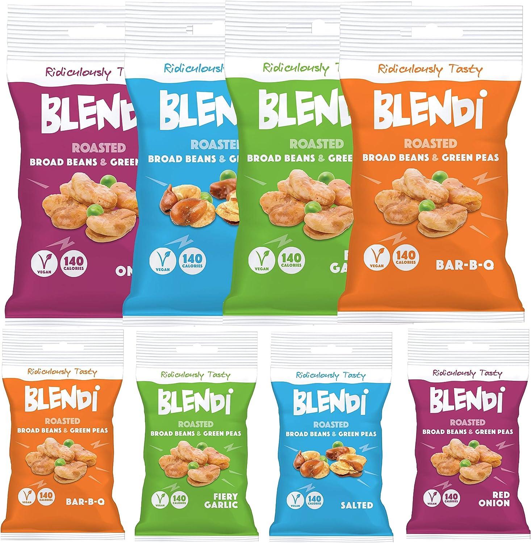 Blendi Snacks Saludables Bajos en Calorías - Aperitivos Sin Gluten, Altos en Proteína Vegana y Fibra - Surtido de 4 Sabores de Habas y Guisantes ...