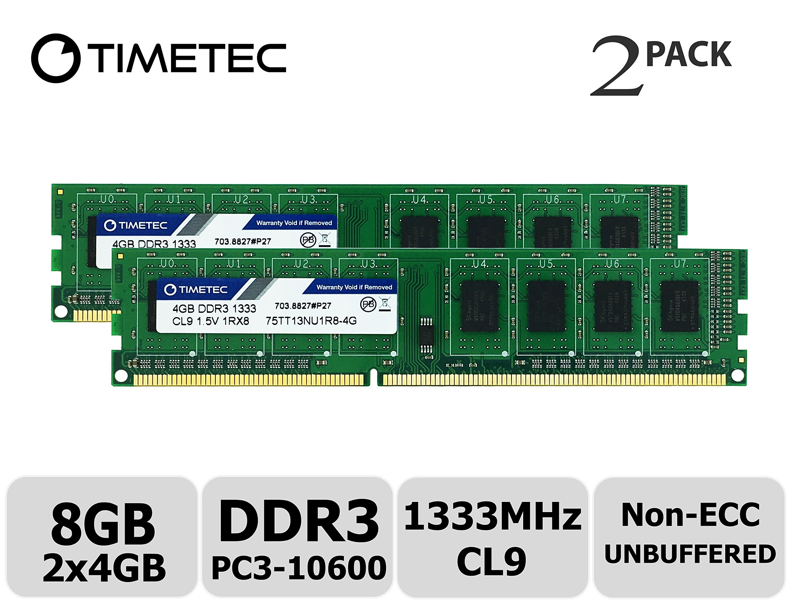 Timetec Hynix IC 8GB Kit (2x4GB) DDR3 1333MHz PC3-10600 Unbuffered Non-ECC 1.5V CL9 1Rx8 Single Rank 240 Pin UDIMM Desktop Memory Ram Module Upgrade (High Density 8GB Kit (2x4GB))