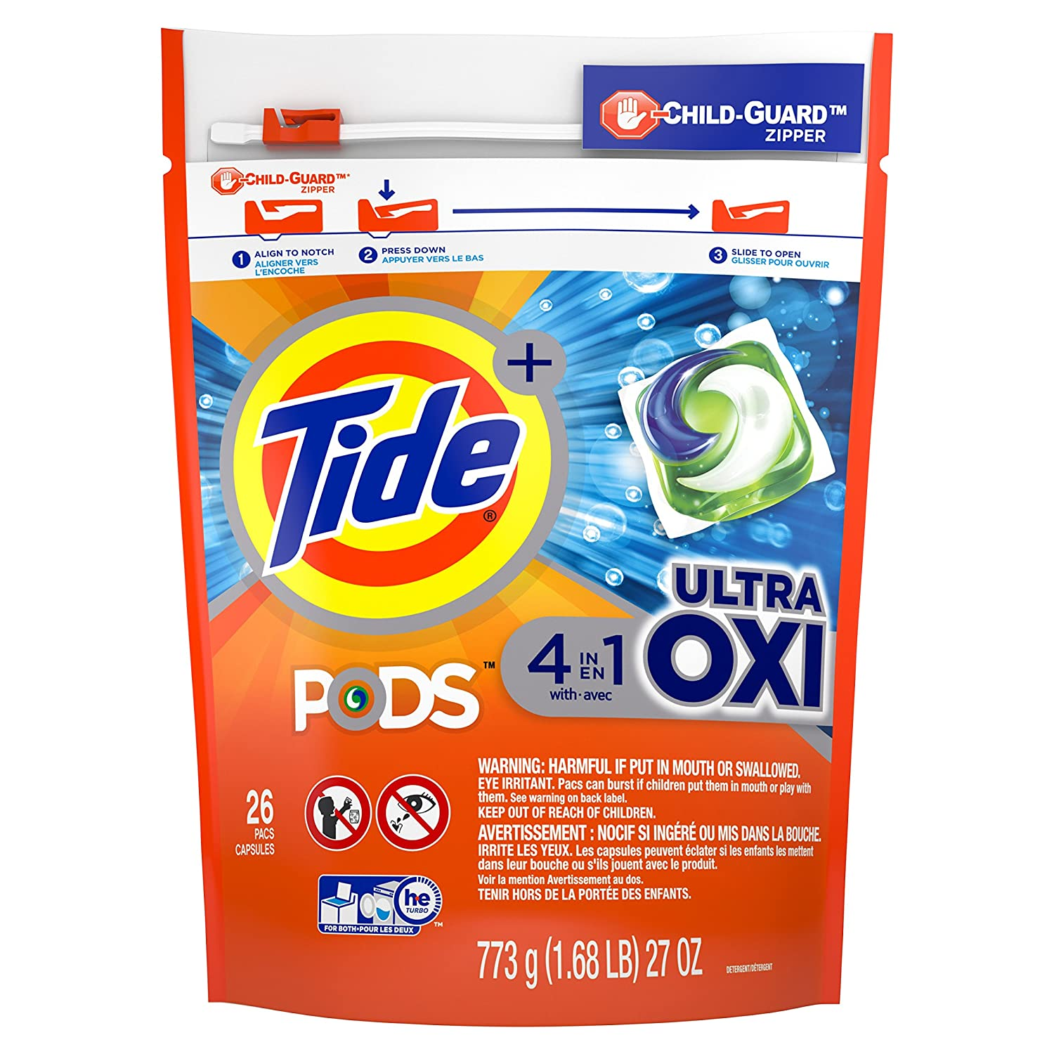 Tide Pods Ultra Oxi Liquid Detergent Pacs, 26 Count