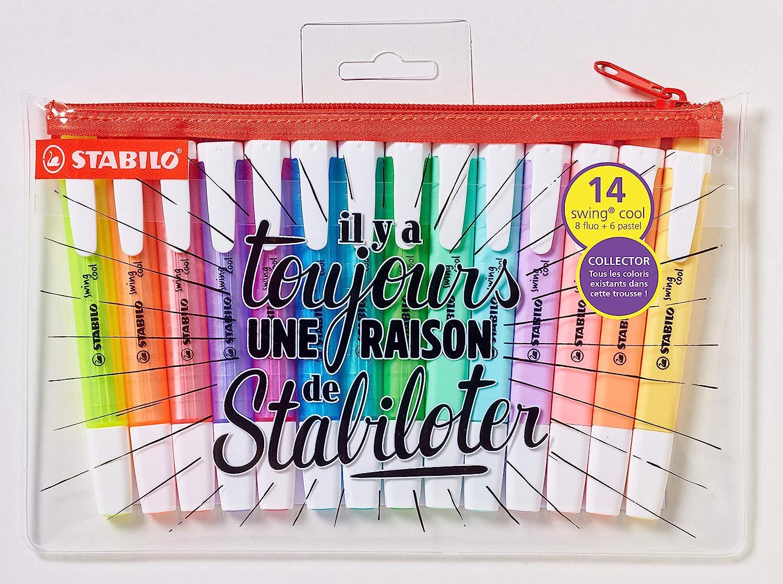 Stabilo Swing Cool - Estuche de 14 subrayadores, colores neón y pastel surtidos, edición limitada