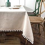 DriftAway - Mantel decorativo con pompones y borlas rectangulares de mezcla de lino, para interiores y exteriores, mesa de bu