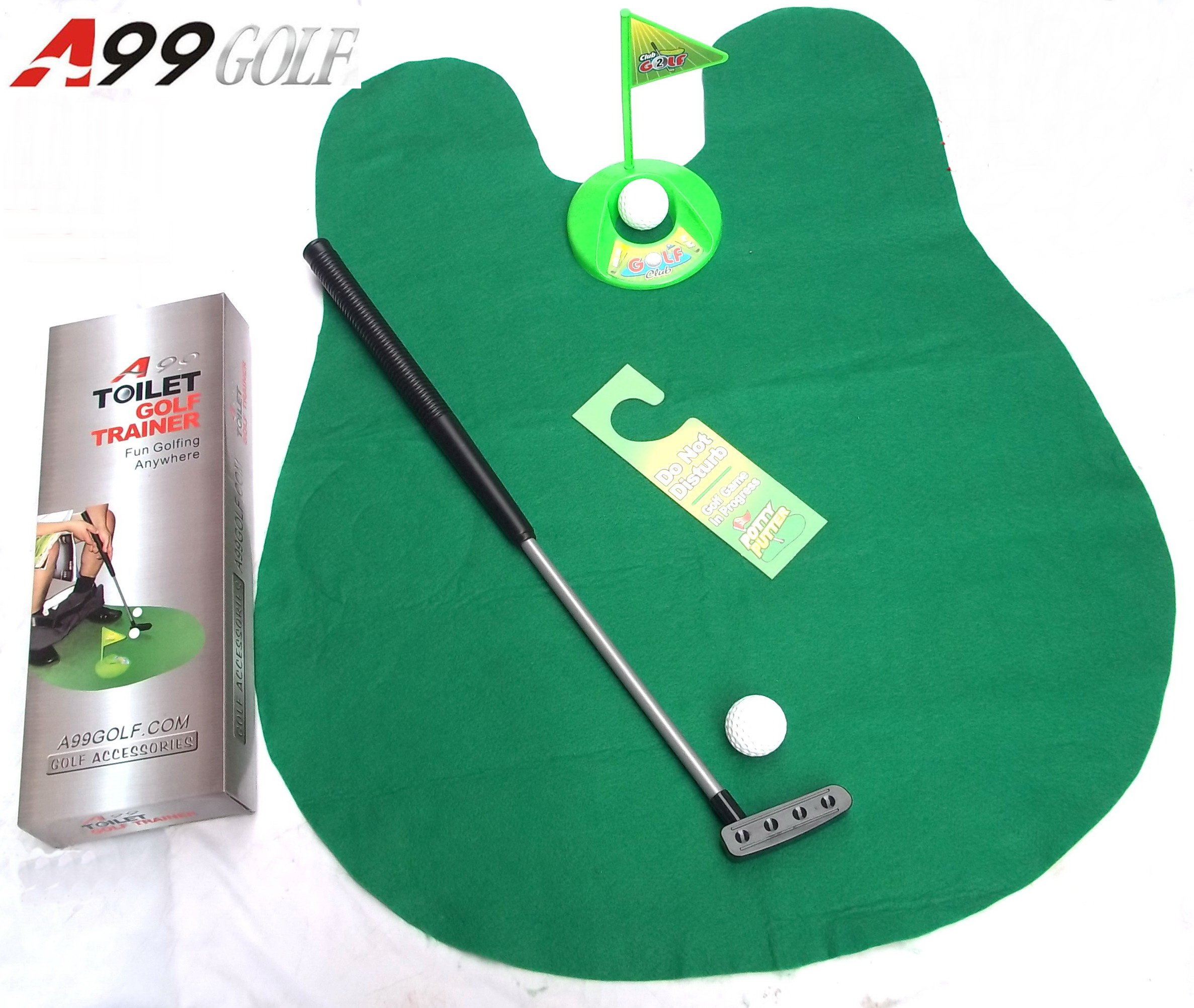 2sets of A99 Golf Toilet Bathroom Mini Golf Mat Set Game Potty Putter