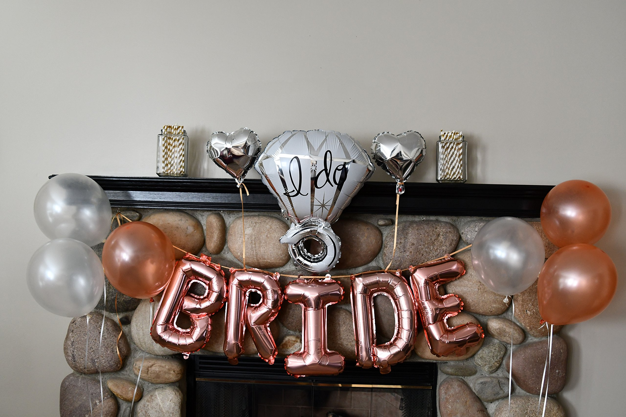 Bachelorette Party Decorations Pack - Rose Gold Party Supply Kit with Rose Gold, White Pearl and Silver Heart Balloons + Rose Gold Straws + The Bride Sash + Bride Foil Banner and Diamond Ring Balloon by Party Simple (Image #8)