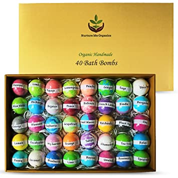 Natural Bath Bombs Gift Set   Nurture Me Organic 40 Bath Bombs For Kids & Adults Infused With Essential Oils! Individually Wrapped Lush Bath Bomb Gift Set For Women & Kids! by Nurture Me Organics