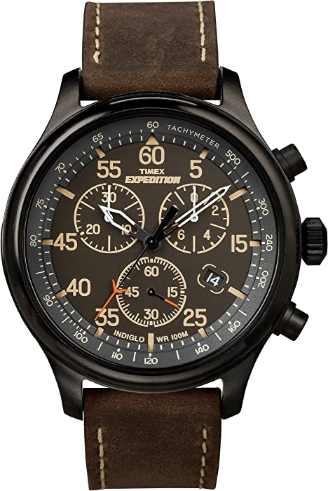dac6b43a388 Timex Men s T49905 Expedition Rugged Field Chronograph Black Brown Leather  Strap Watch
