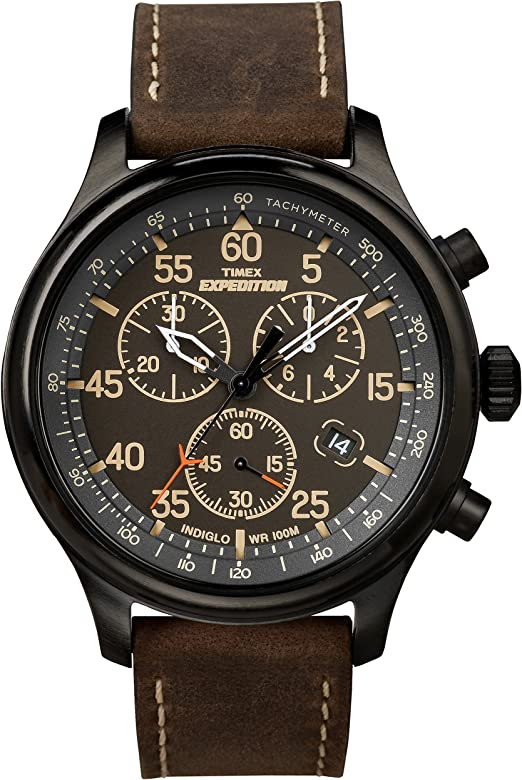 ba77a80a9103 Timex Men s T49905 Expedition Rugged Field Chronograph Black Brown Leather  Strap Watch