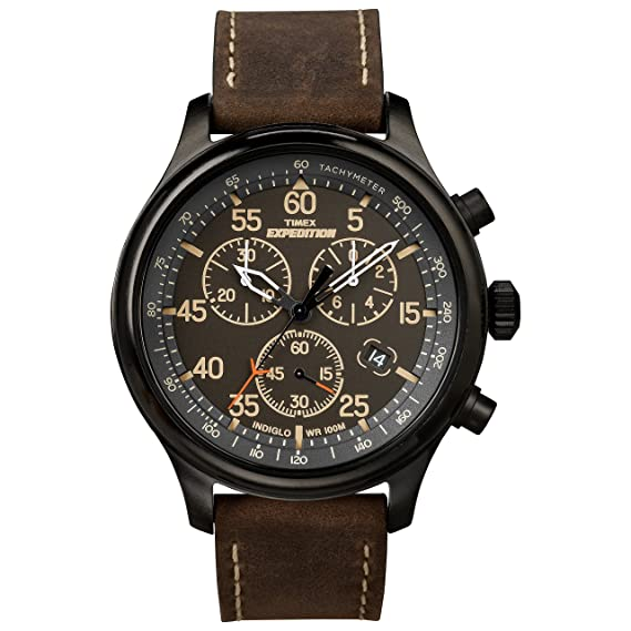 b58afdff491e Timex Men s T49905 Expedition Rugged Field Chronograph Black Brown Leather  Strap Watch  Timex  Amazon.ca  Watches