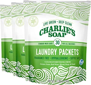 Charlie's Soap - Fragrance Free Laundry Packets - 30 Count (Three 30-Count Bags, 90 Total Loads)