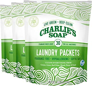 product image for Charlie's Soap - Fragrance Free Laundry Packets - 30 Count (Three 30-Count Bags, 90 Total Loads)