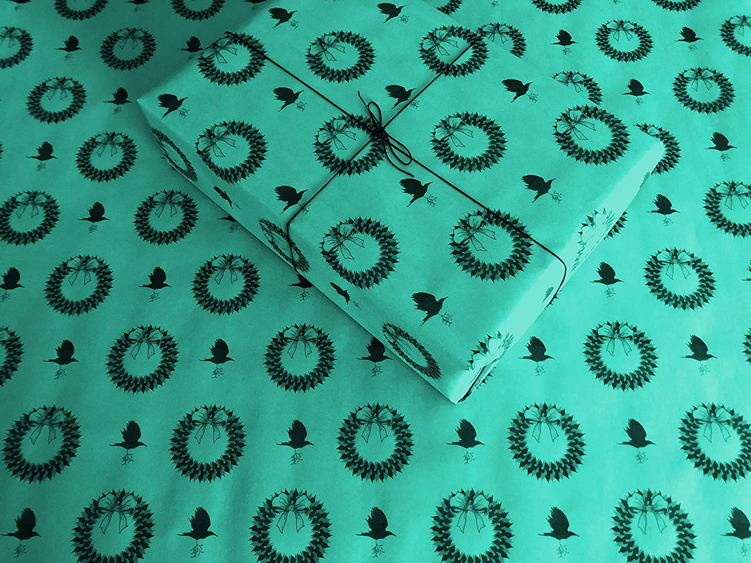 up to 8 Feet of Birthday Gift Wrap FREE Shipping Ravens /& Wreaths on Aqua//Teal Gothic Wrapping Paper
