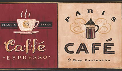Coffee Places Kitchen Wallpaper Border Vintage Design Roll 15 X 7