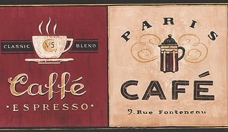 Coffee Places Kitchen Wallpaper Border Vintage Design, ...