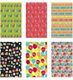 6 Rolls Premium Birthday or All Occasion Gift Wrap 120sq ft total - Medium Weight Wrapping Paper for Women, Men, Boys, Girls, Kids 6 Different Designs of 8ft x 30in (20sq ft) Rolls