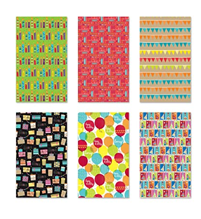 6 Rolls Premium Birthday Or All Occasion Gift Wrap 120sq Ft Total
