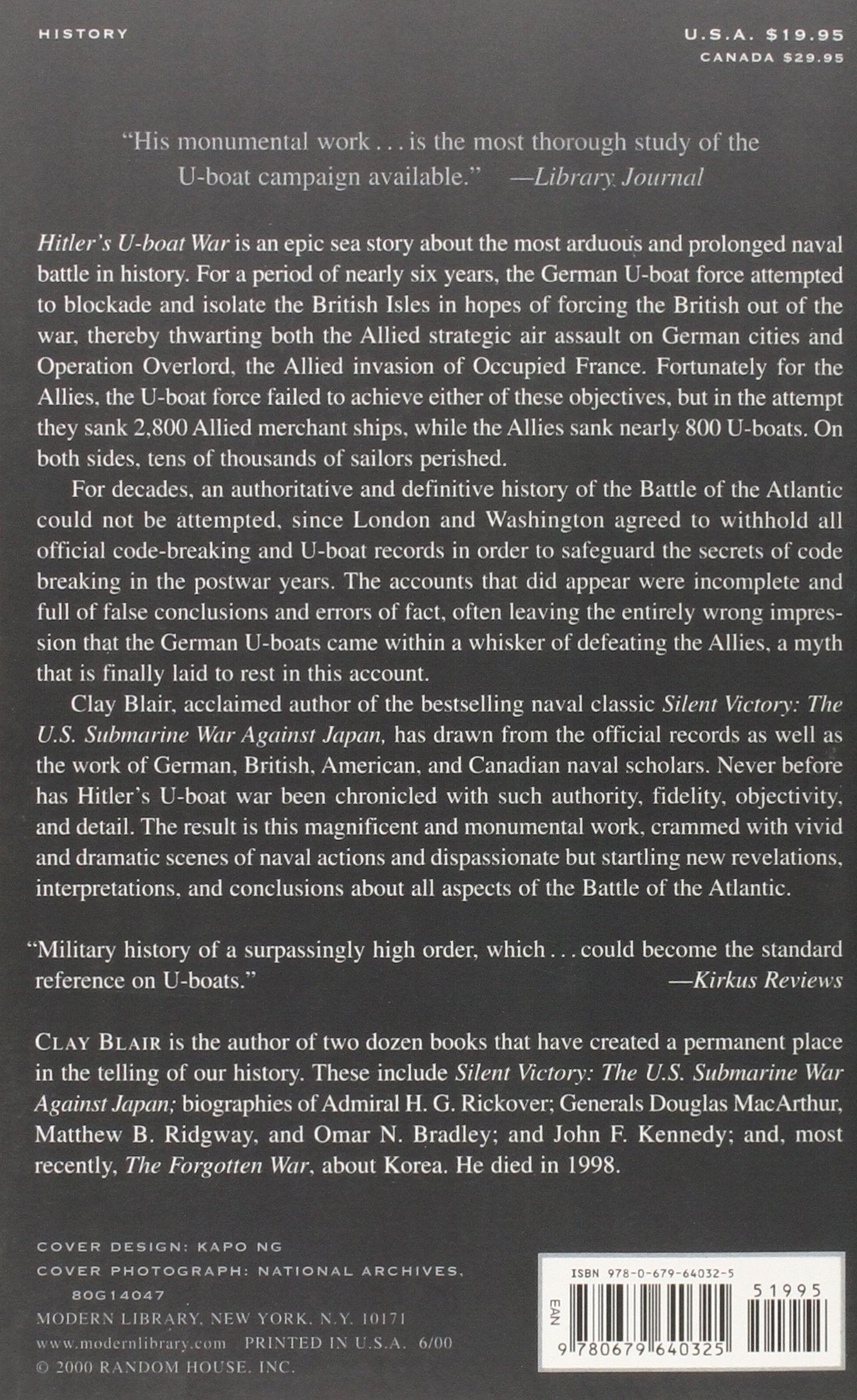 Hitler's Uboat War: The Hunters, 19391942 (modern Library War): Clay  Blair: 9780679640325: Amazon: Books