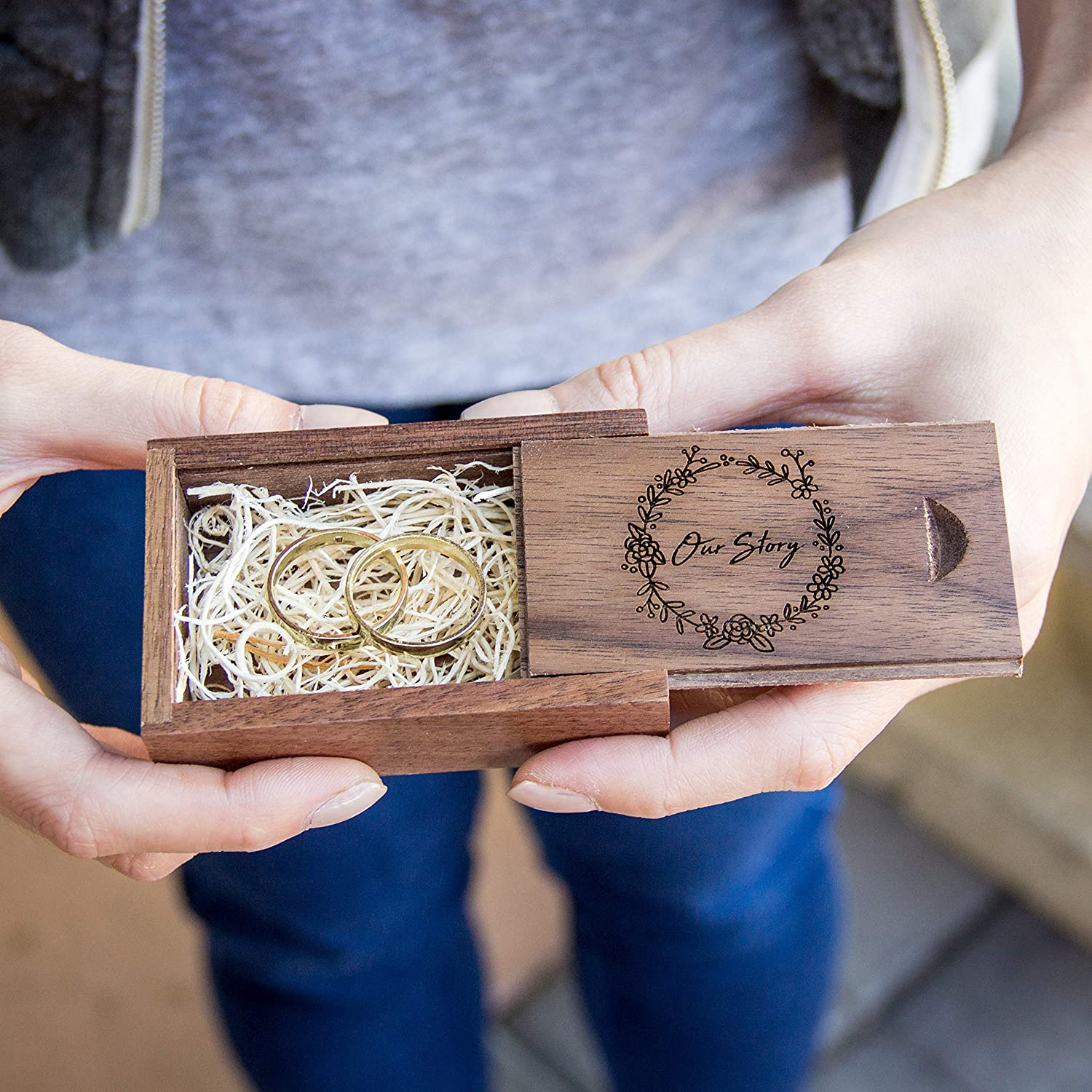 Our Story Engraved Wood Wedding Ring Box (Ring Bearer Box, Small Jewelry Gift Box, Engagement Ring Box, Photo Prop)