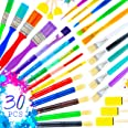 30 Paint Brushes for Kids, Colorful Art Set of Kids Paint Brushes, Kids Art Supplies - Acrylic Paint Brush for Kids, Watercol