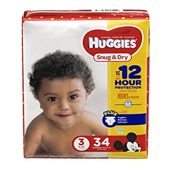 HUGGIES Snug & Dry Diapers, Size 3, 34 Count, JUMBO PACK (Packaging