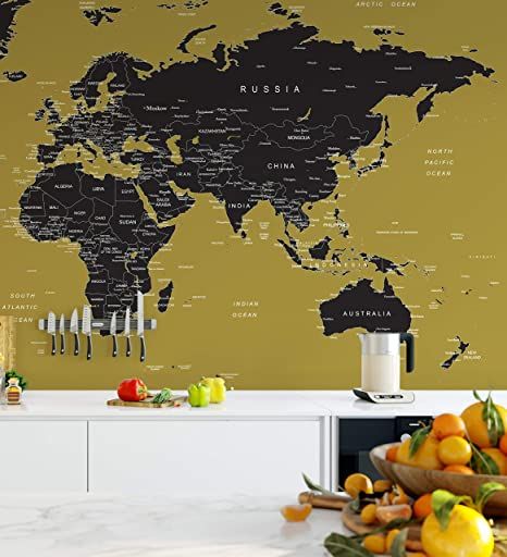 Home Living Wall Decals Murals 6135 Large World Map Wall Mural Simple Peel And Stick No Glue Needed Gold Wall Covering
