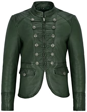 Victory 8976 Ladies Dark Green Military Parade Style Soft Real Nappa Leather Jacket (