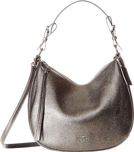 59da98ff2a62 Amazon.com  COACH Women s Metallic Leather Sutton Hobo Gunmetal Metallic  Graphite One Size  Shoes
