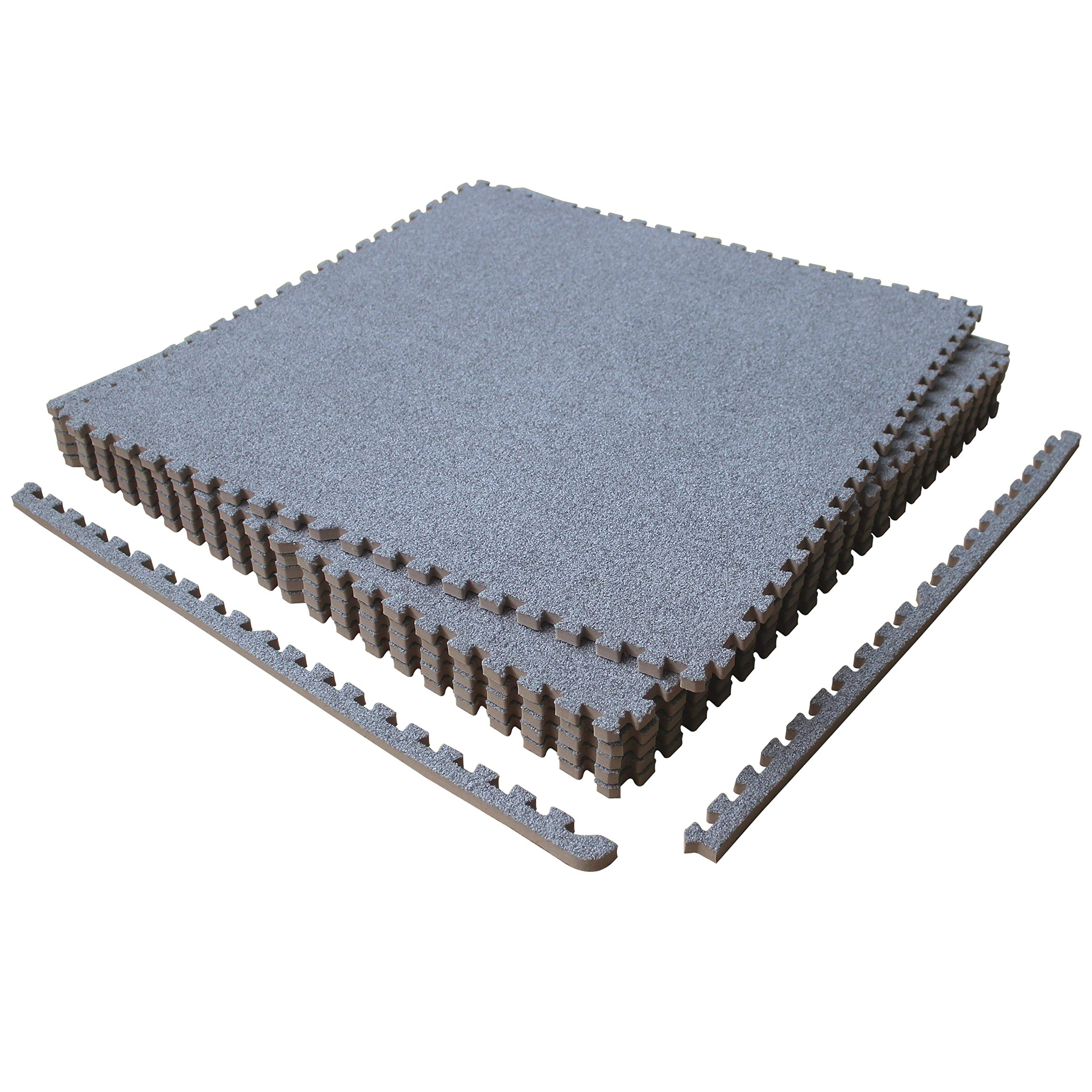 LaFamille Interlocking Foam Floor Mat 6 Tiles 24 sq.ft Puzzle Carpet Flooring Exercise Square Mats Gym,Playroom Floor Mats for Carpet 2'x2' (Light Grey)