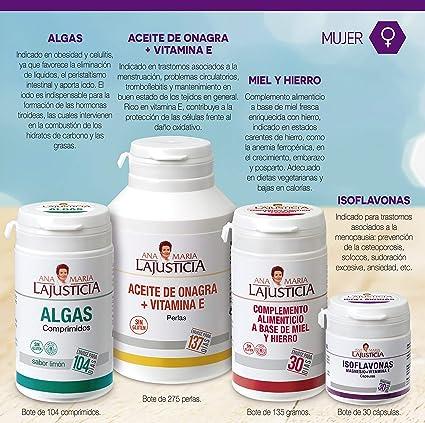 Ana Maria Lajusticia - Aceite de onagra – 275 perlas. Alivia dolores menstruales, los síntomas de la menopausia y el síndrome premenstrual. Envase para 137 días de tratamiento.: Amazon.es: Salud y cuidado personal