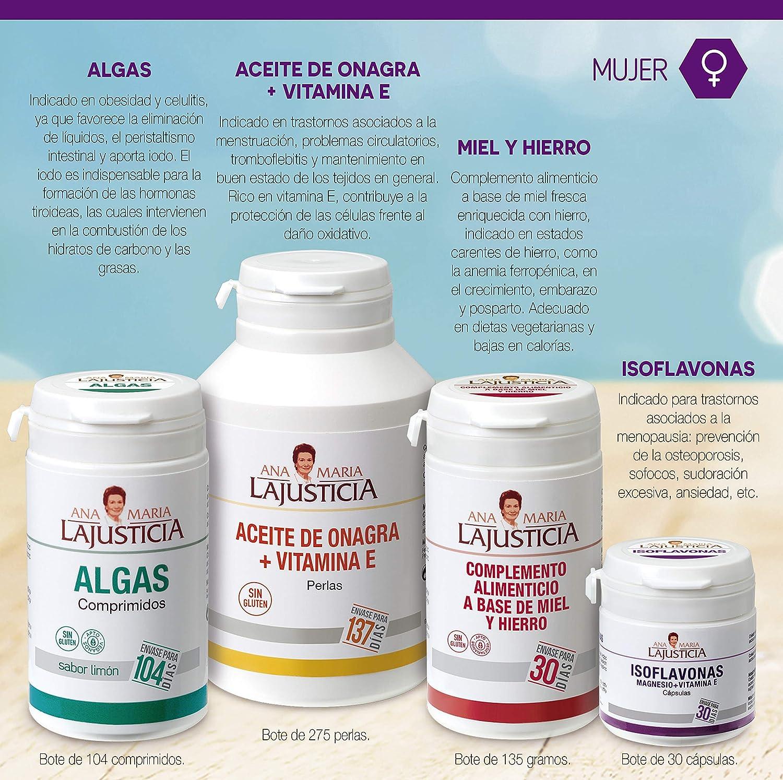 Ana Maria Lajusticia - Aceite de onagra – 275 perlas. Alivia dolores menstruales, los sintomas de la menopausia y el síndrome premenstrual. Envase ...