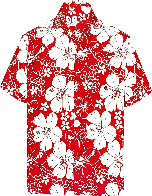 LA LEELA | Funky Camisa Hawaiana | Señores | Manga Corta | Bolsillo Delantero | Impresión De Hawaii | Playa | Hibisco Floral Flor Impreso