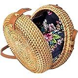 Wicker Straw Purse Rattan Bag Handwoven Women Round Crossbody Summer Beach
