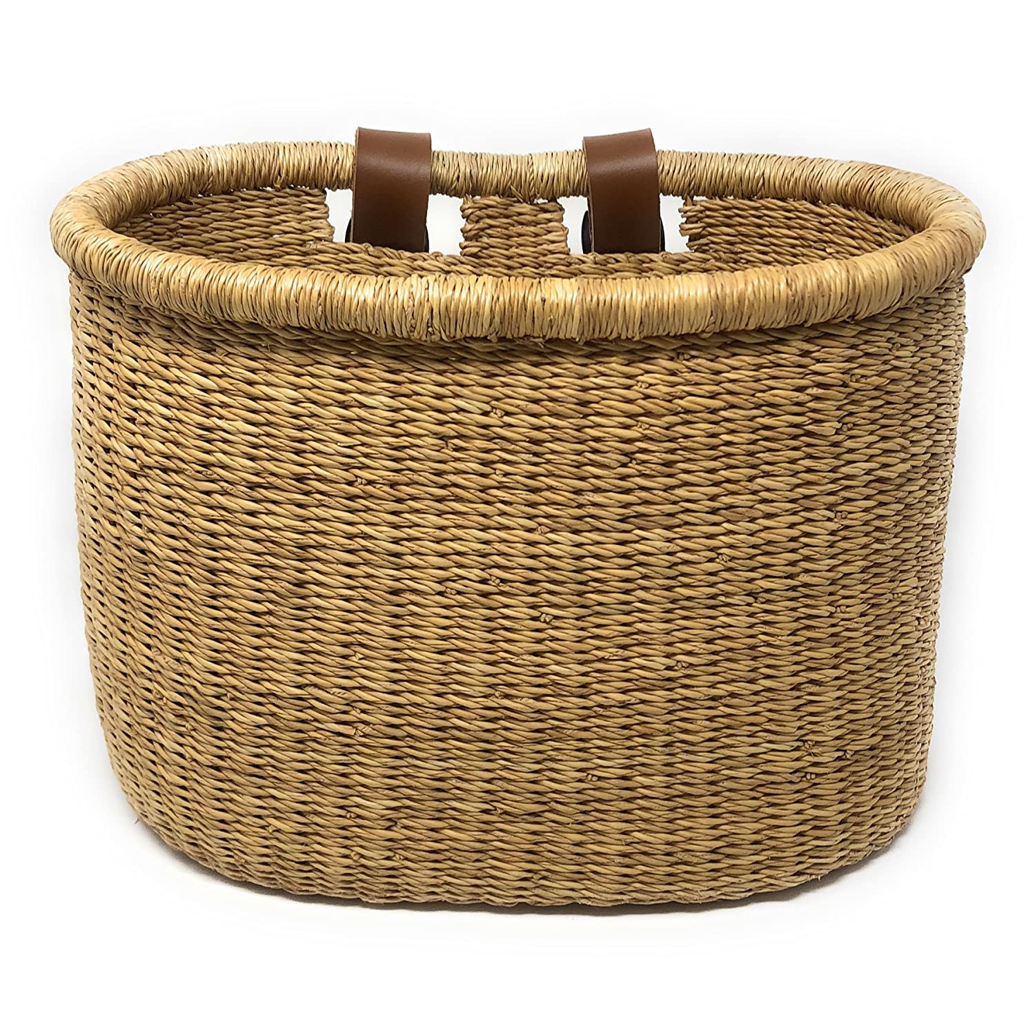 Swahili African Modern African Elephant Grass Handwoven Bicycle Basket, Natural GH36A