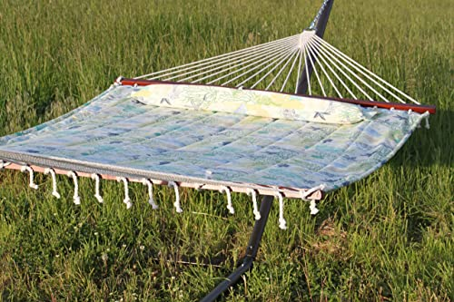 Pebble Lane Living Heavy Duty Hammock Quilted Fabric with Pillow Double Navy Spreader Bar 2 Person