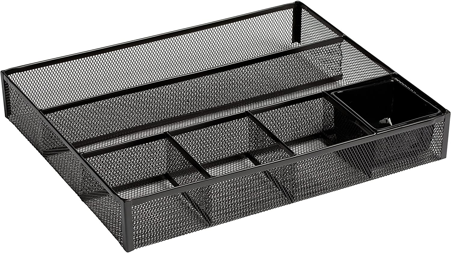 New 22131 Metal Mesh 11.75 inches Long by 15.25 inches Wide Rolodex Deep Desk Drawer Organizer Black