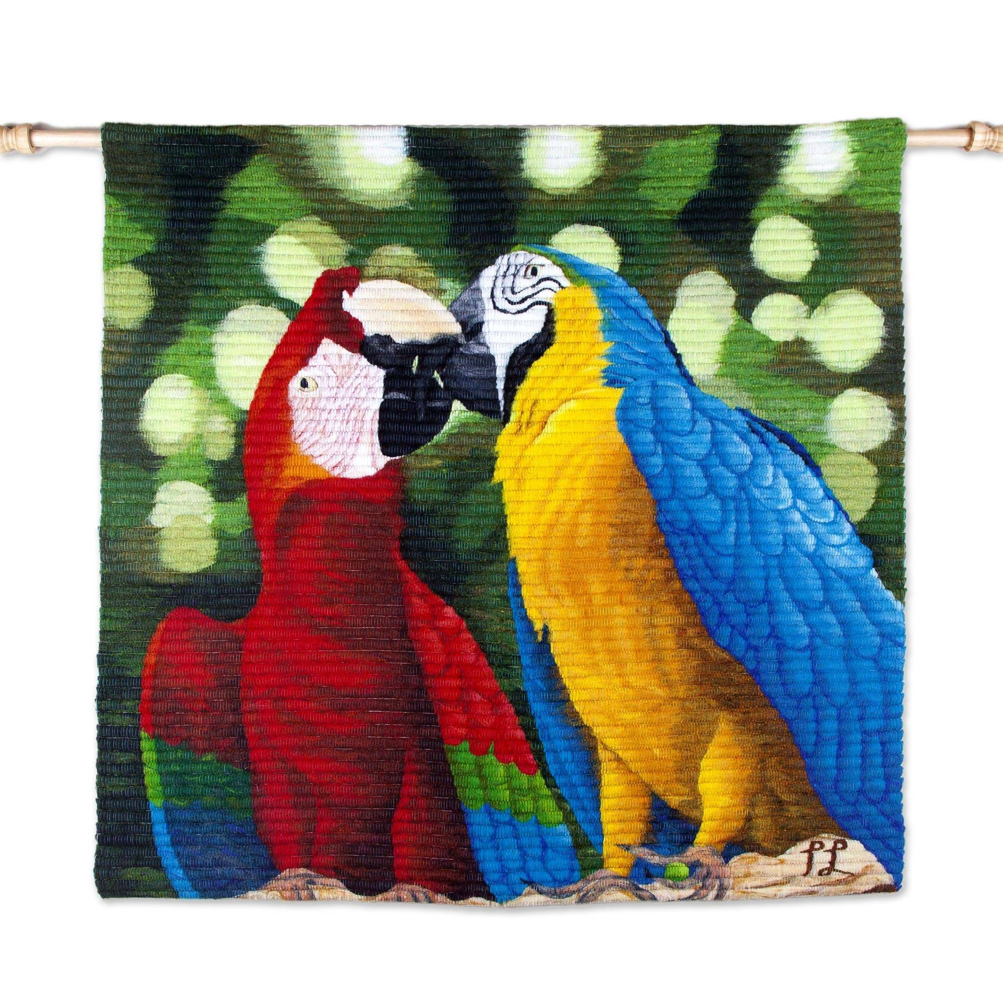 NOVICA Animal Themed Large Cotton and Wool Tapestry, Multicolor, 'Paradise Birds In Love'